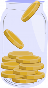 Frasco com moedas